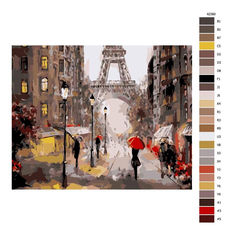 Návod pro malování podle čísel Ulice Paříže