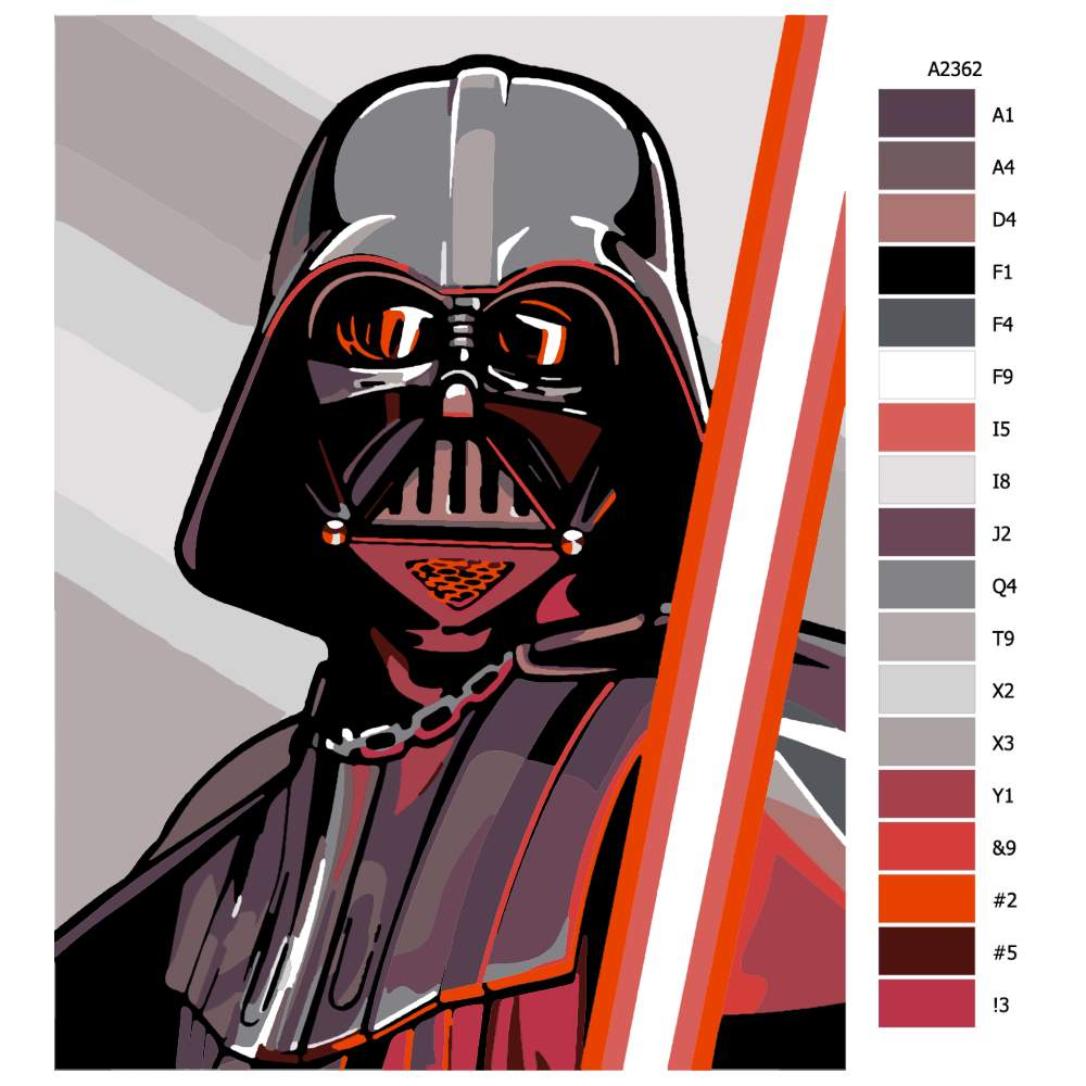 Návod pro malování podle čísel Vader