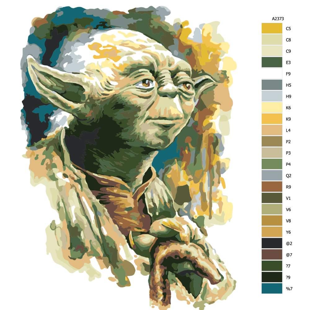 Návod pro malování podle čísel Yoda 03