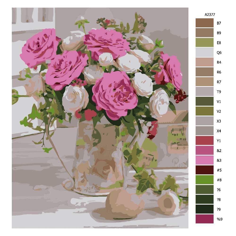 Návod pro malování podle čísel Zátiší s květinami