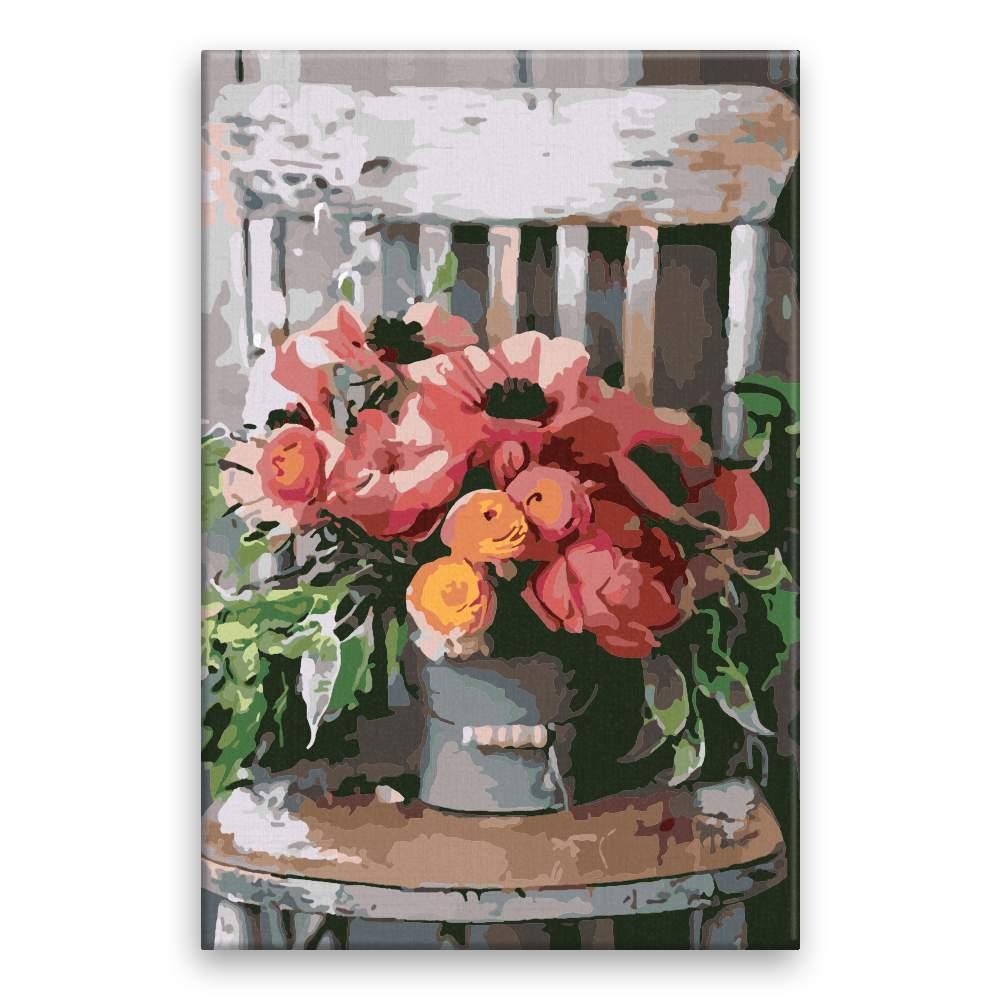 Malování podle čísel Zítiší s židlí a květinami