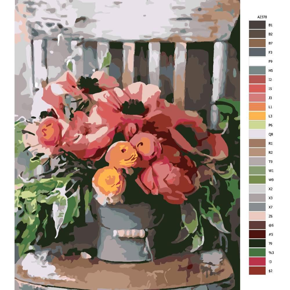 Návod pro malování podle čísel Zítiší s židlí a květinami