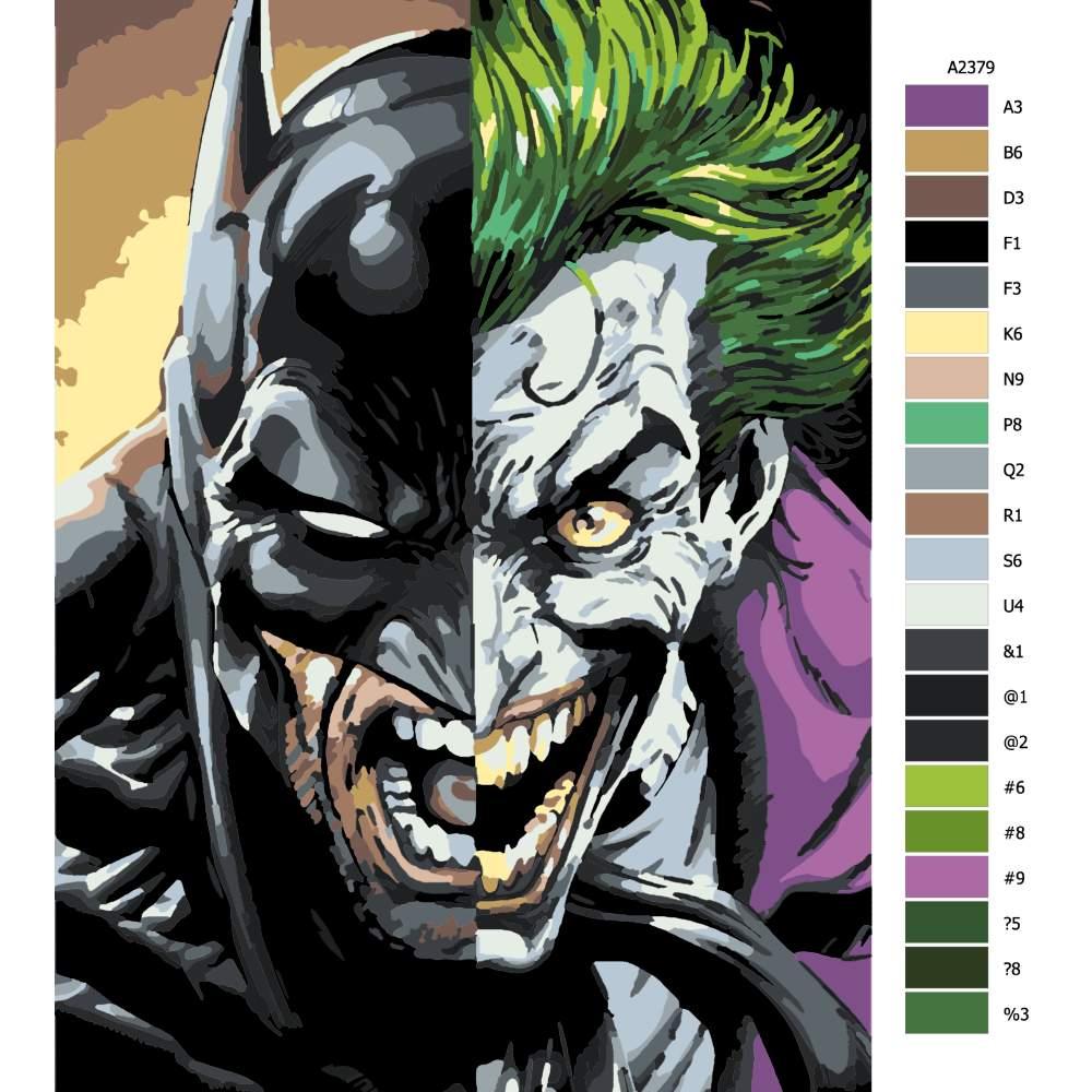 Návod pro malování podle čísel Batman vs Joker
