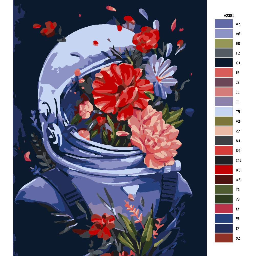 Návod pro malování podle čísel Astronaut s kvetinou
