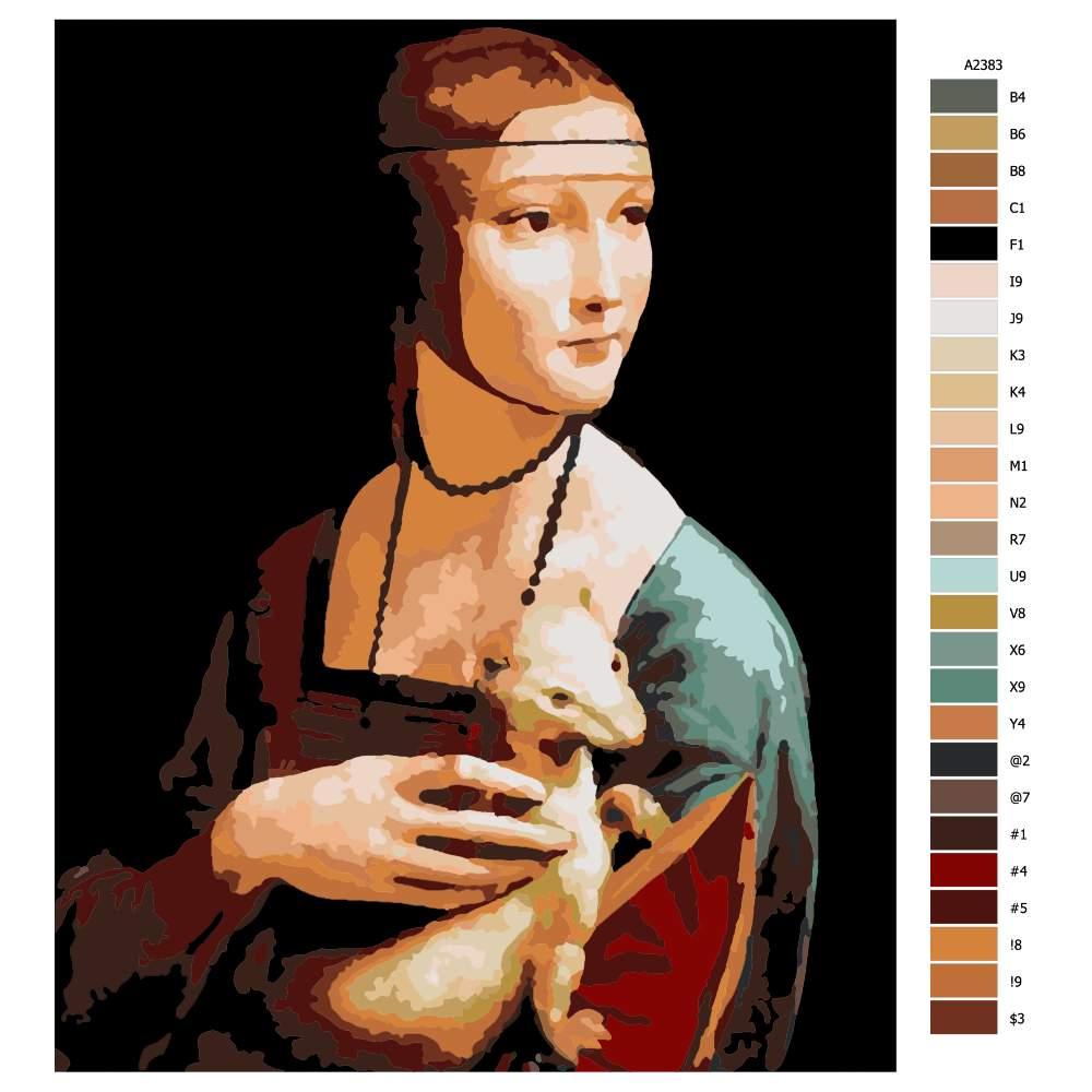 Návod pro malování podle čísel Dáma s hranostajem Leonardo da Vinci