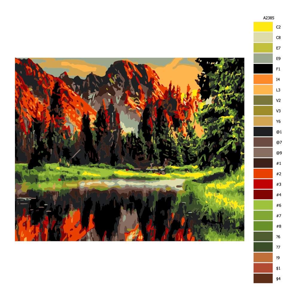 Návod pro malování podle čísel Horská bystřina