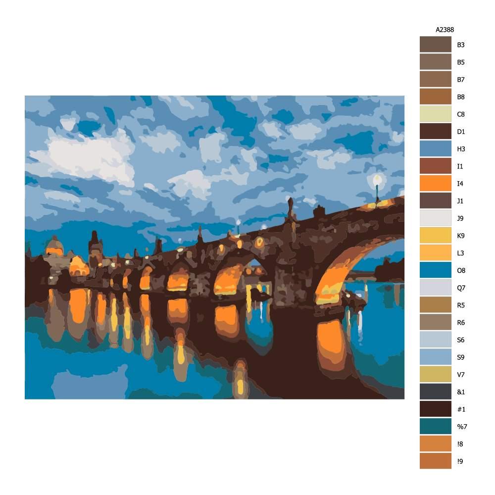 Návod pro malování podle čísel Karlův most v podvečer