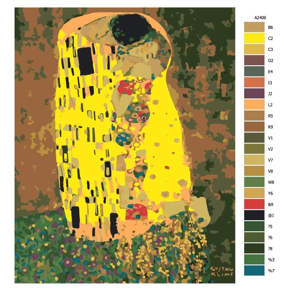 Návod pro malování podle čísel Polibek Gustav Klimt