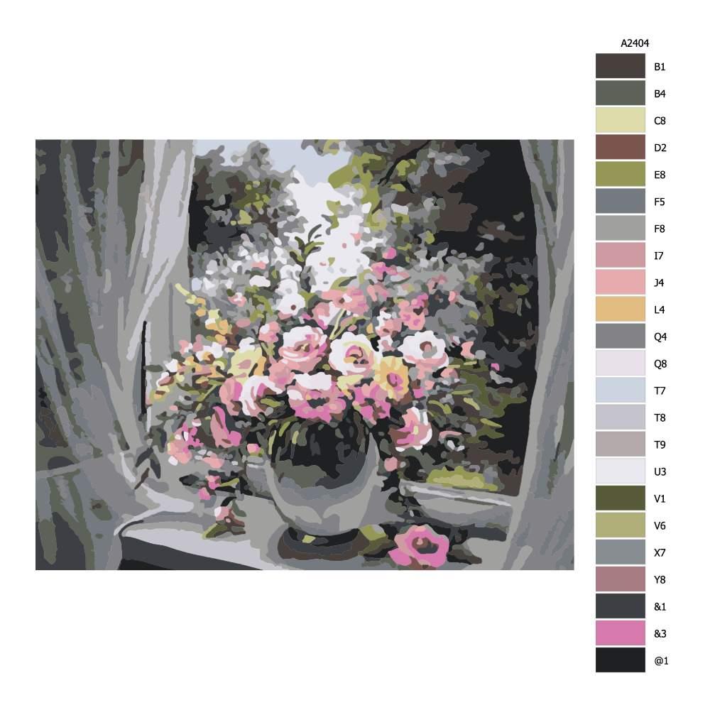Návod pro malování podle čísel Váza v okně